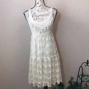 A'reve Anthropologie Cream Lace Romantic Dress